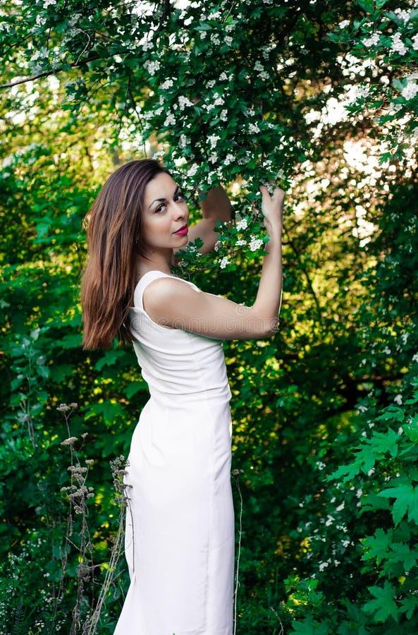 Jeune fille dans la tranquilité et la pacification complètes dans une belle et élégante robe sur la nature au printemps en parc photos stock