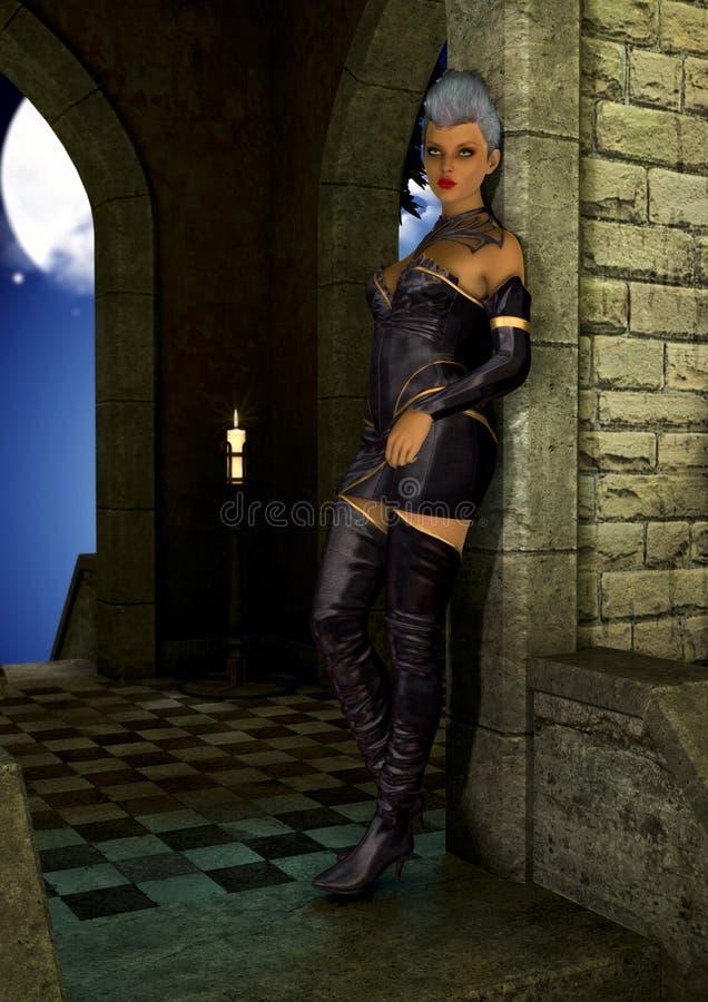 Jeune fille de goth-punk se tenant dans un hall foncé illustration de vecteur