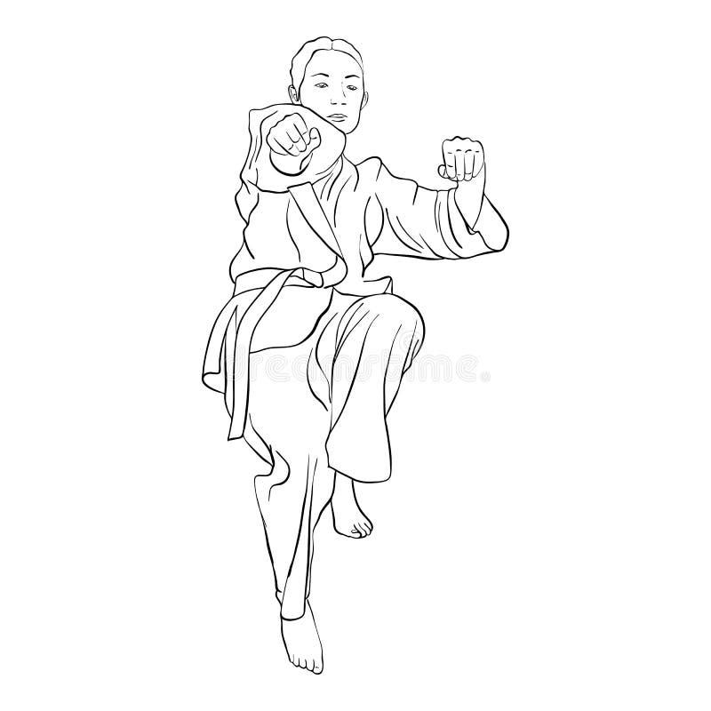 Jeune fille de karaté illustration de vecteur