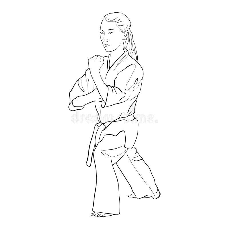 Jeune fille de karaté illustration stock