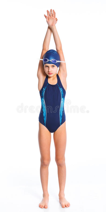Jeune fille de nageur photo stock