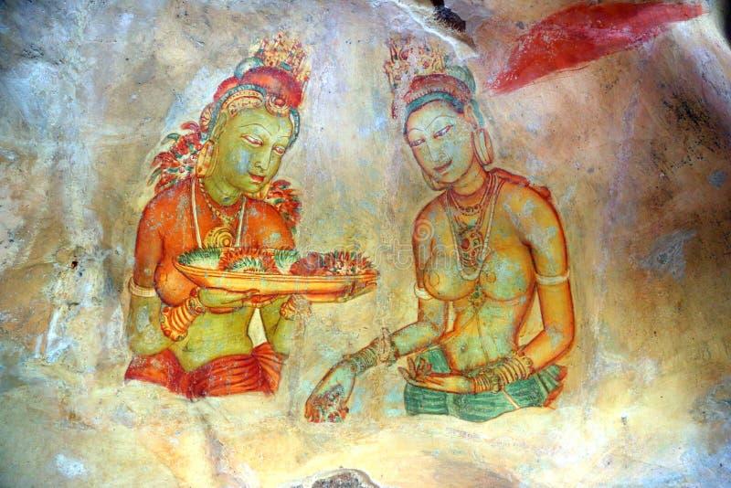 Jeune fille de Sigiriya - fresques à la forteresse dans Sri Lanka image stock