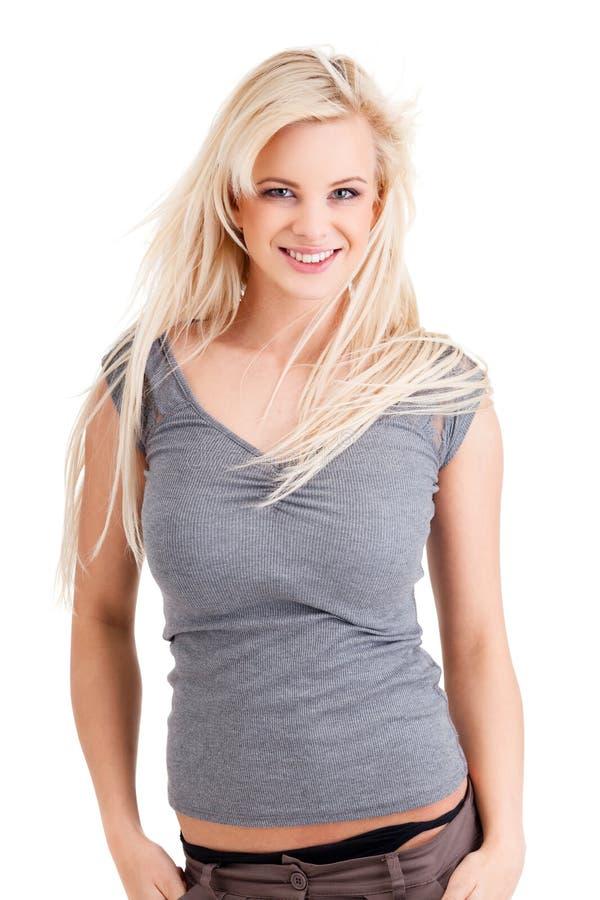 Femme de sourire blonde image stock