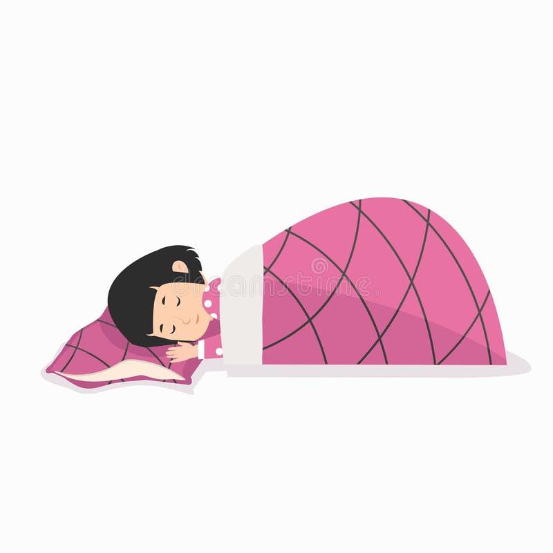 Jeune fille dormant avec l'oreiller et la couverture illustration libre de droits