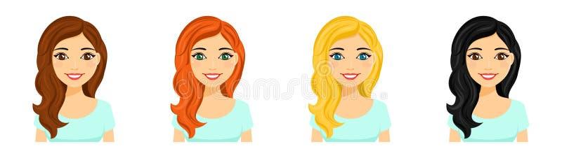 Jeune fille, ensemble Portraits d'une fille de sourire avec la couleur différente de cheveux illustration de vecteur