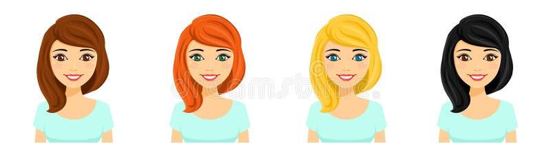 Jeune fille, ensemble Portraits des filles avec différentes couleurs de cheveux illustration stock