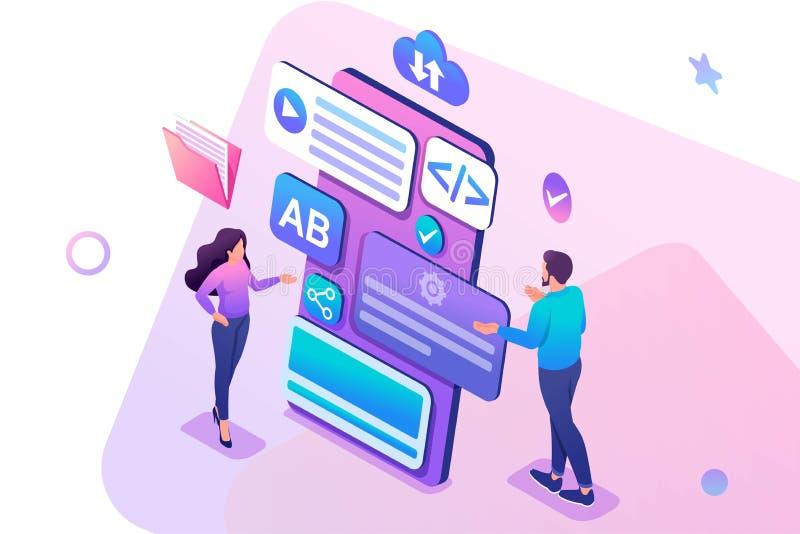 Jeune fille et garçon de concept isométrique développer la demande mobile de smartphone Concept pour le web design illustration stock