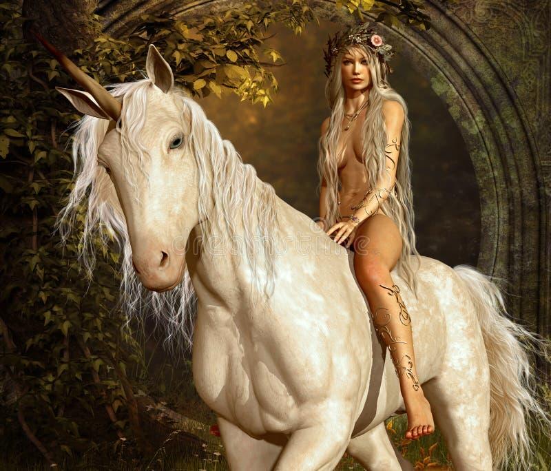 Jeune fille et licorne illustration de vecteur