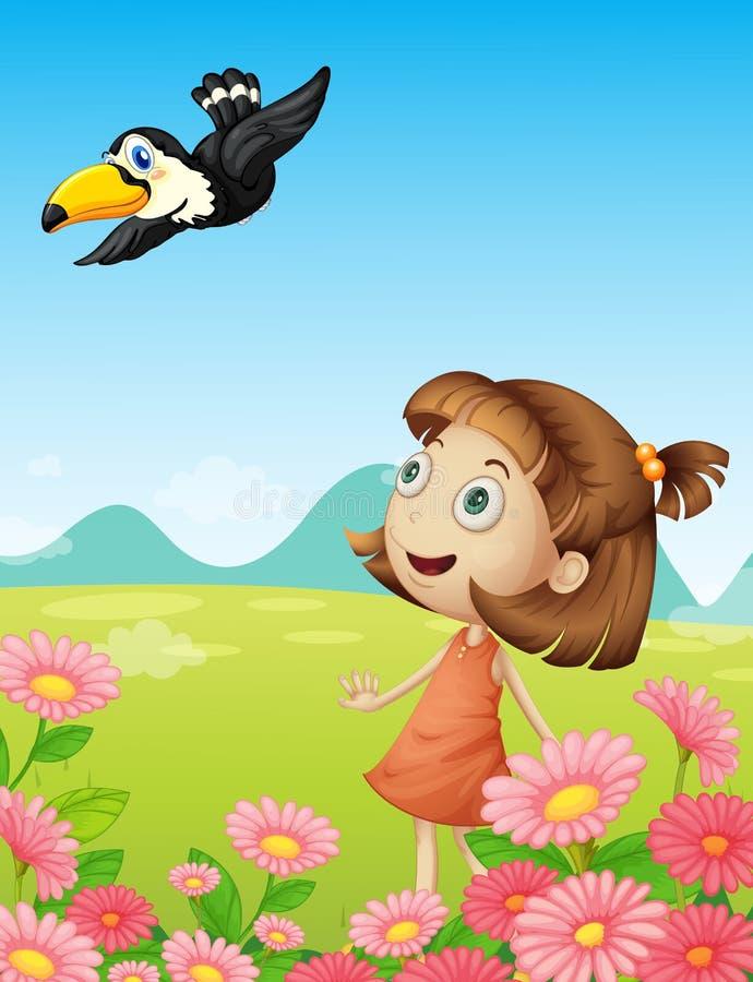 Jeune fille et oiseau illustration stock
