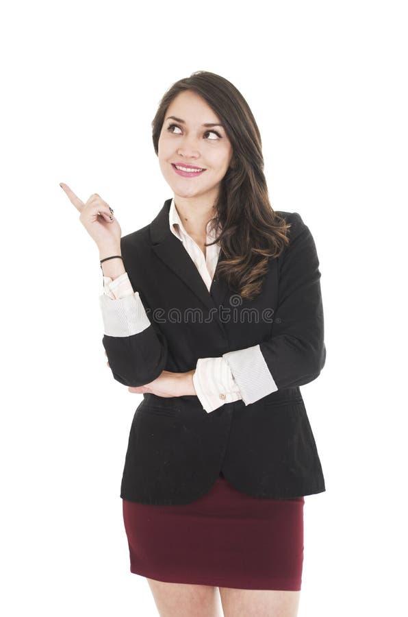 Jeune fille exécutive portant la jupe rouge et le noir photos stock
