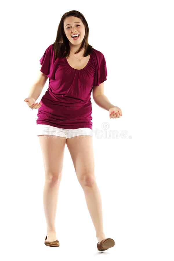 Jeune fille Excited sur le blanc photos stock