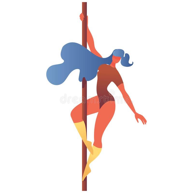 Jeune fille faisant l'aérobic de danse de poteau, d'isolement sur le caractère vif blanc dessiné avec des gradients lumineux illustration stock