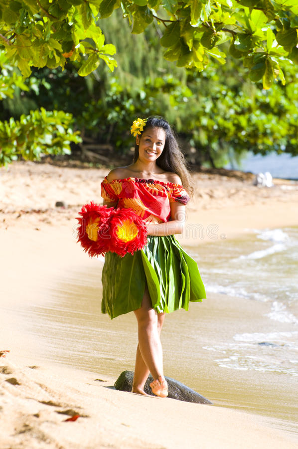 Jeune fille hawaïenne images stock