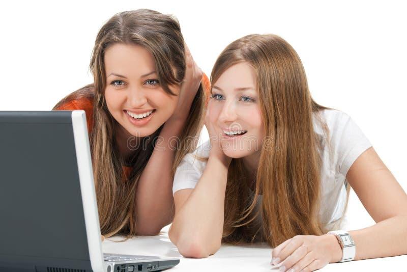 Jeune fille heureuse de l'étudiant deux image libre de droits