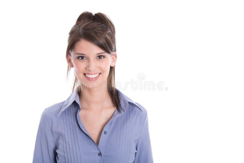 Jeune fille heureuse de sourire d'isolement sur le blanc. images stock