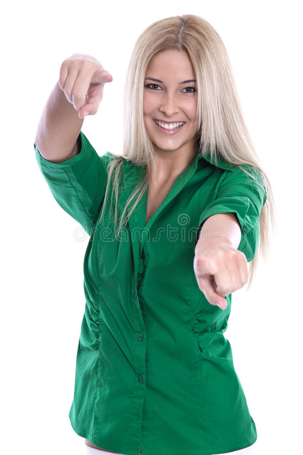 Jeune fille heureuse en vert - d'isolement sur le blanc. images libres de droits