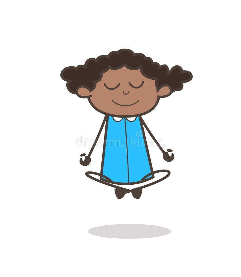 Jeune fille heureuse faisant le vecteur de yoga illustration libre de droits