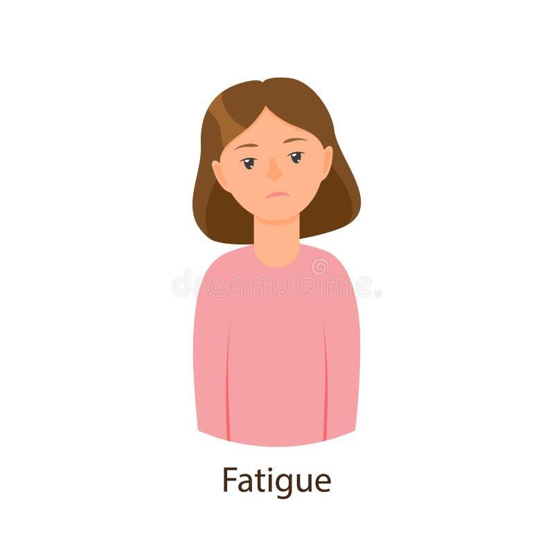 Jeune fille malade de vecteur souffrant de la fatigue illustration de vecteur