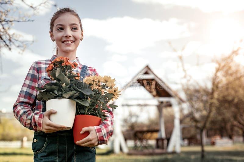 Jeune fille mignonne prenant plusieurs fleurs colorées dans le pot image stock