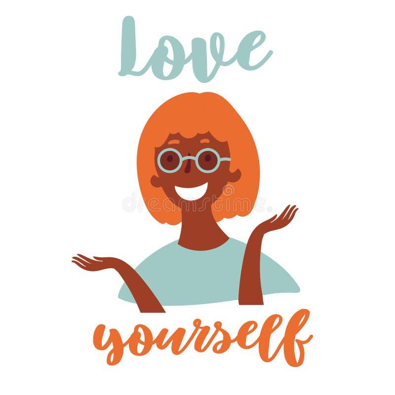 Jeune fille noire dans des lunettes Amour vous-même illustration libre de droits