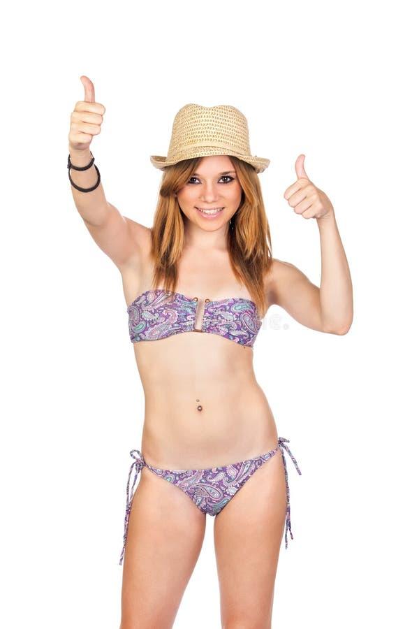 Jeune fille occasionnelle avec le bikini photo stock