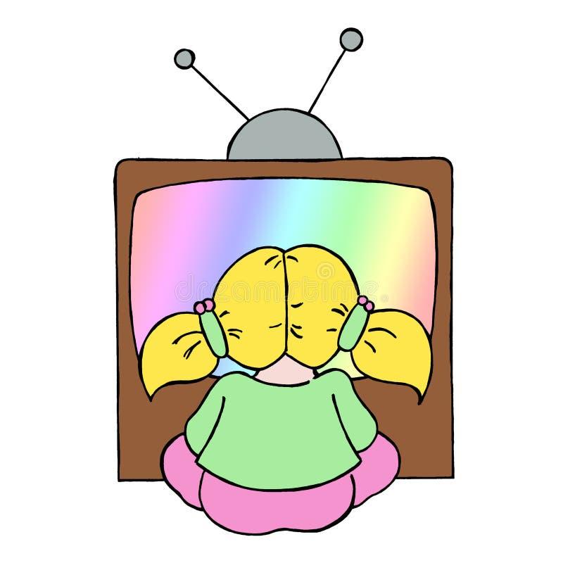 Jeune fille regardant la TV illustration stock