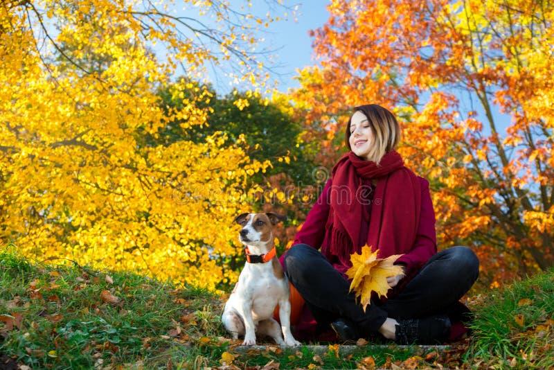 Jeune fille rousse dans des vêtements rouges se reposant sur l'escalier près du chien dans p photographie stock