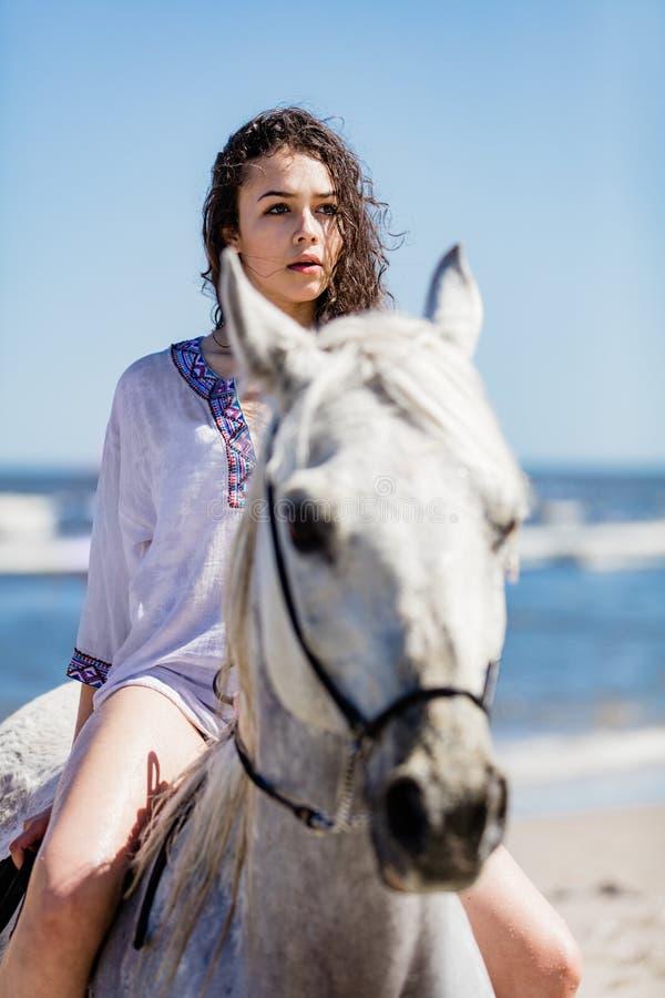 Jeune fille s'asseyant sur un cheval blanc sur le bord de la mer image stock
