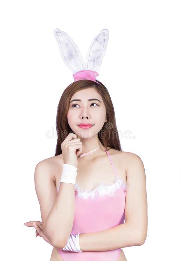 Jeune fille sexy dans la lingerie ou la fille de lapin photo libre de droits