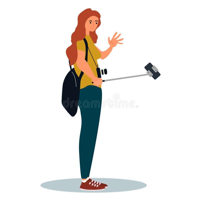Jeune fille souriante avec son sac à dos debout et prenant une photo de selfie sur son smartphone Illustration vectorielle sur fo illustration libre de droits