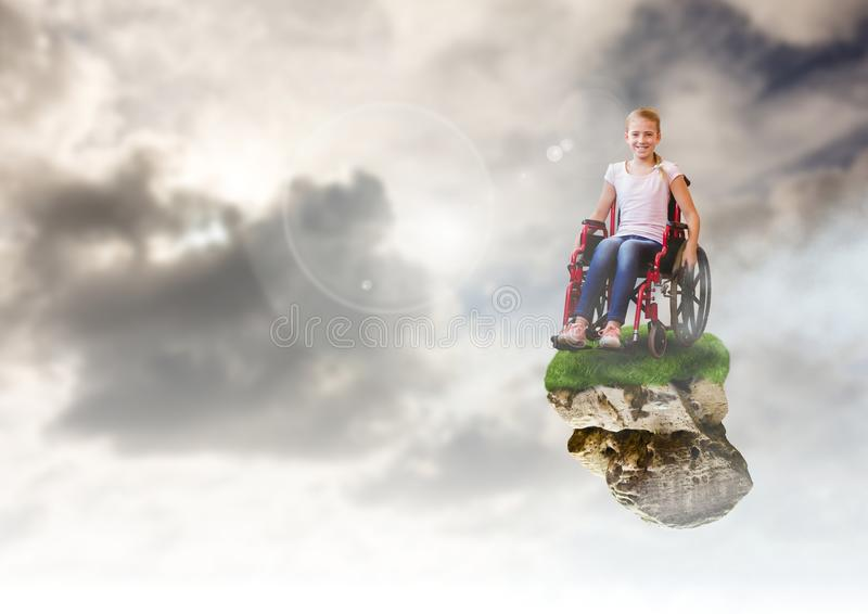 Jeune fille sur la plate-forme de flottement de roche en ciel dans le fauteuil roulant illustration stock