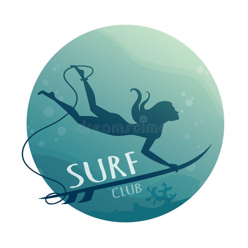 Jeune fille - surfer avec le piqué de panneau de ressac sous-marin avec l'amusement sous le grand ressac illustration libre de droits