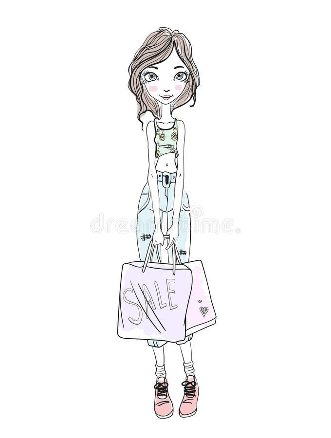 Jeune fille tenant des paniers dans des mains Croquis tiré par la main Illustration de vecteur, sur le fond blanc illustration libre de droits