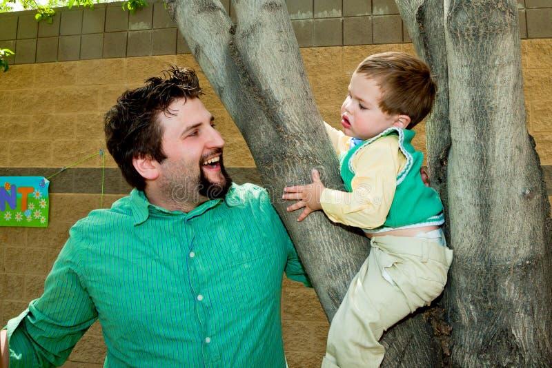 Jeune fils de papa dans l'arbre images libres de droits
