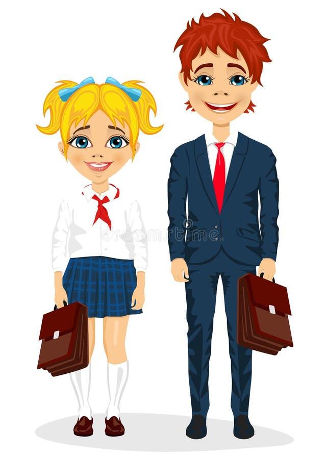 Jeune frère et soeur avec des valises se tenant ensemble dans l'uniforme scolaire illustration stock