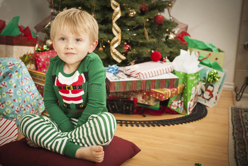 Jeune garçon appréciant le matin de Noël près de l'arbre photos libres de droits