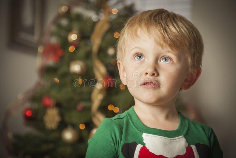 Jeune garçon appréciant le matin de Noël près de l'arbre photographie stock libre de droits