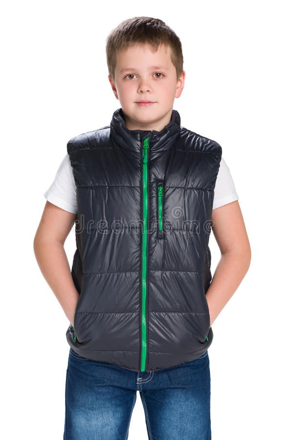 Jeune garçon beau dans une veste images libres de droits