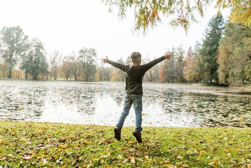 Jeune garçon branchant pour la joie photos libres de droits