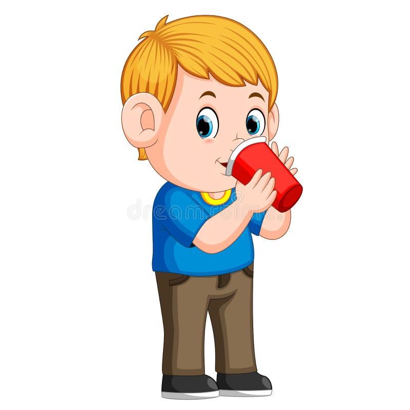 Jeune garçon buvant avec la tasse de papier illustration stock
