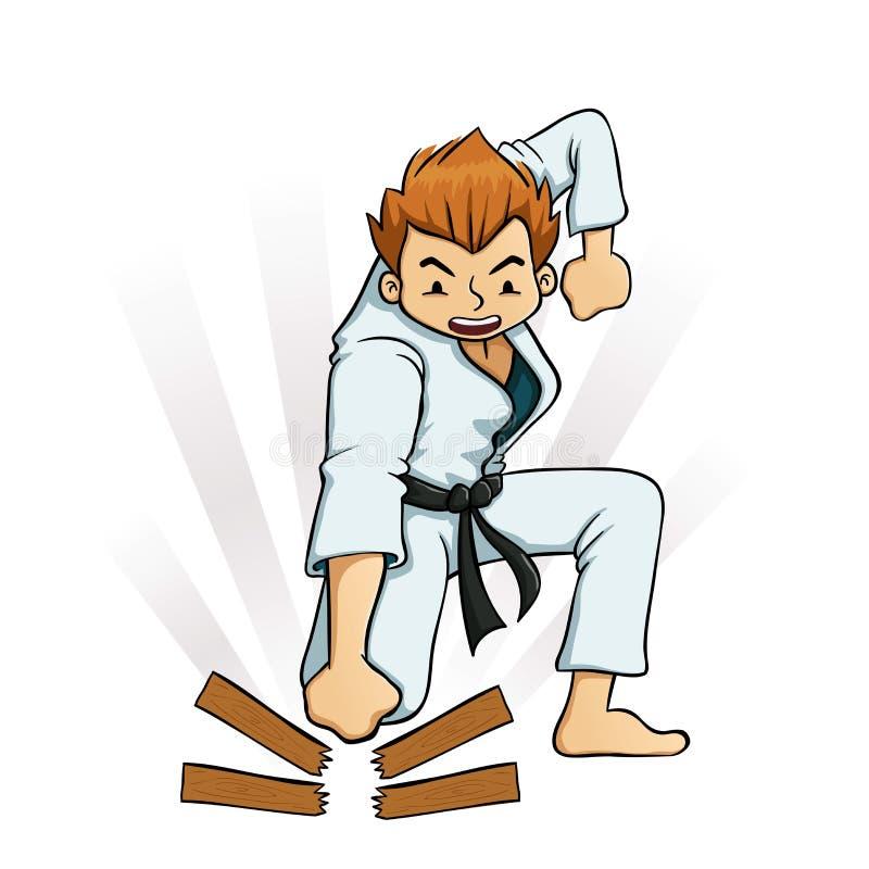 Jeune garçon cassant des conseils dans des uniformes de karaté illustration stock