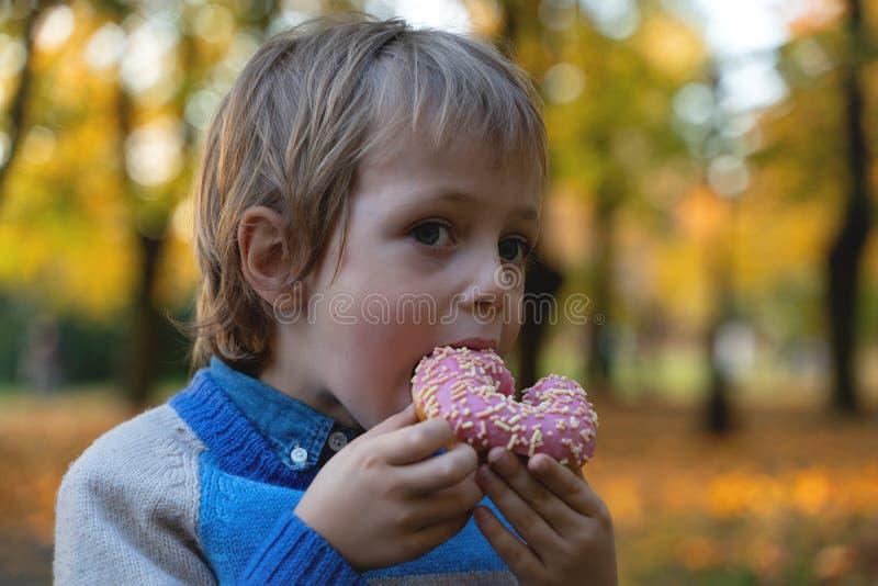Jeune garçon caucasien 5 années mangeant le plan rapproché d'extérieur de beignet Enfance photographie stock libre de droits