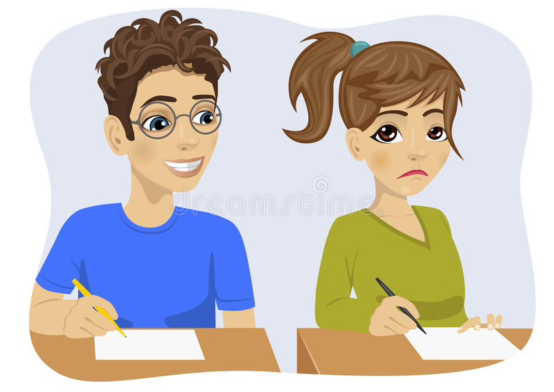 Jeune garçon d'adolescent avec des verres copiant sa fille de camarade de classe sur l'examen illustration de vecteur
