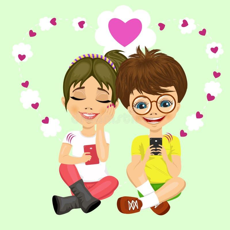 Jeune garçon d'adolescent avec les verres et la fille envoyant des messages d'amour illustration de vecteur