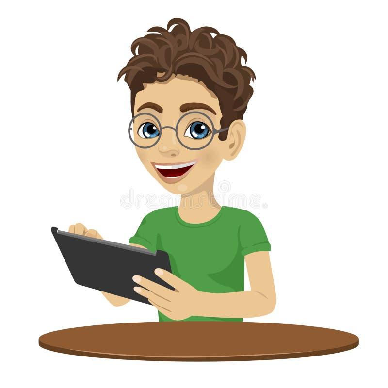 Jeune garçon d'adolescent de ballot à l'aide de la tablette illustration stock