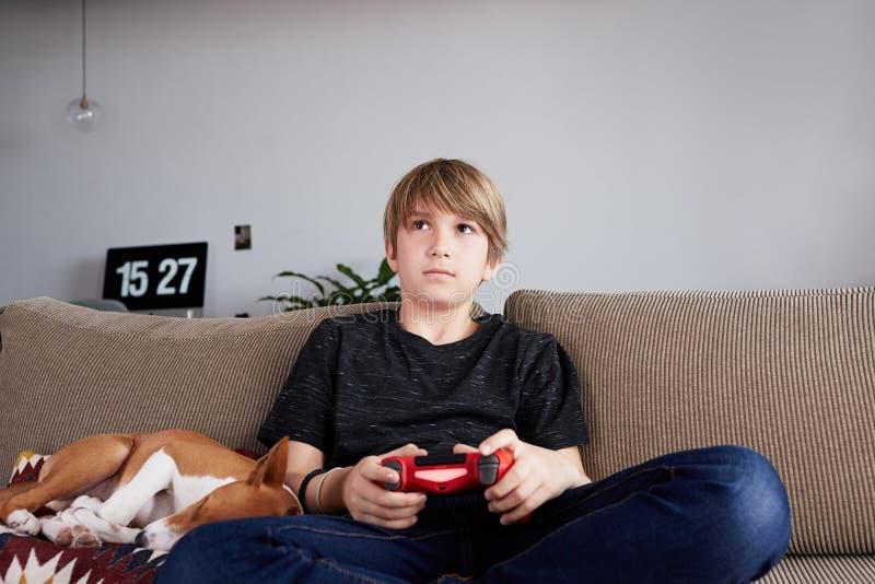 Jeune garçon de Concentraited jouant la console de jeu vidéo posée sur un sofa avec le chiot de chien de basenji dormant étroitem photos stock