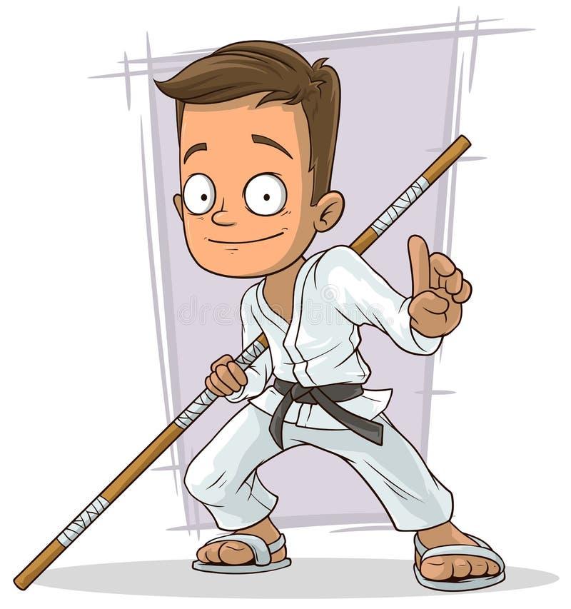 Jeune garçon de karaté de bande dessinée dans le kimono blanc illustration de vecteur