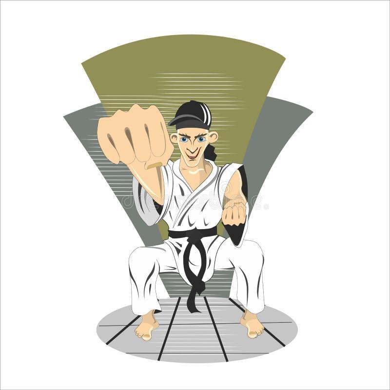 Jeune garçon de karaté de ceinture noire d'adolescent dans l'exercice de pratique de coup-de-pied de kimono illustration de vecteur