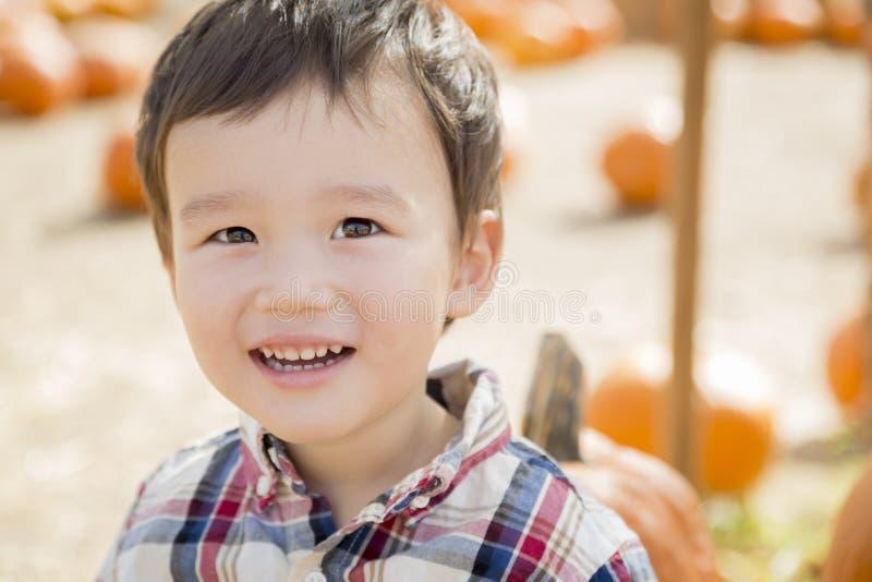 Jeune garçon de métis ayant l'amusement à la correction de potiron image stock