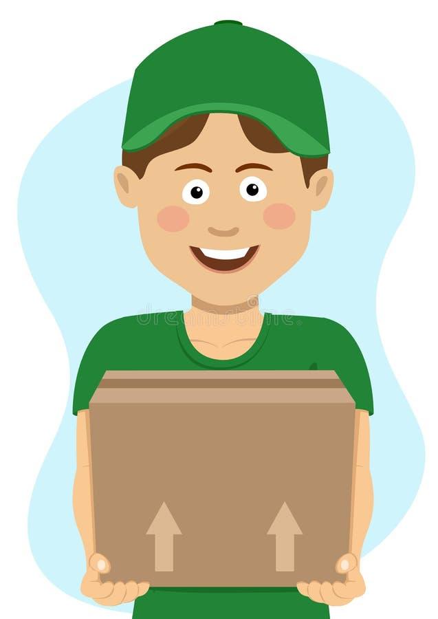 Jeune garçon de sourire d'adolescent de la livraison dans l'uniforme vert avec la boîte en carton illustration libre de droits